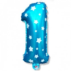 Balon Foliowy Urodziny Cyferka niebieska 1