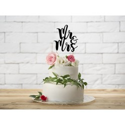Topper na tort  Mr&Mrs, 25,5cm czarny