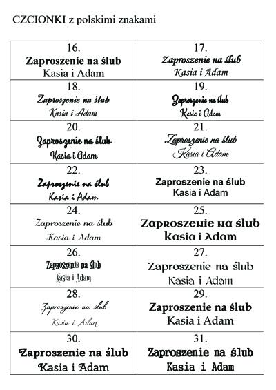 czcionki z polskimi znakami