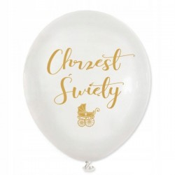 Balon biały Chrzest Święty- 5 sztuk